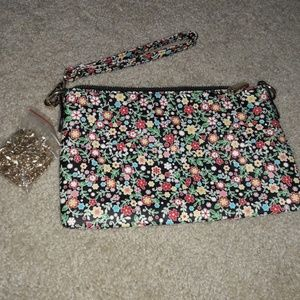 Casual floral fuax leather evening clutch w chain